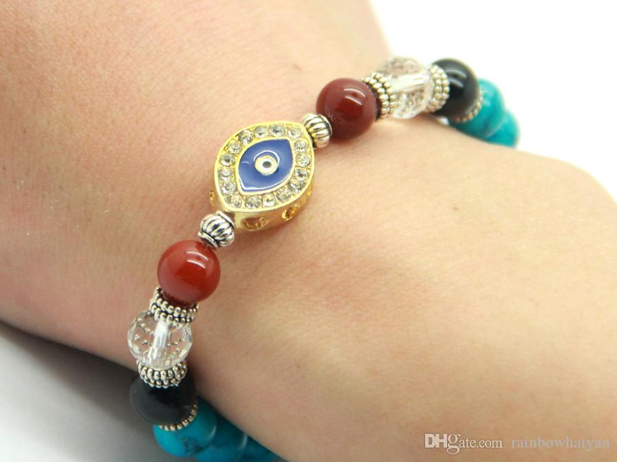 Nuovo design di alta qualità all'ingrosso turchese pietra perline di cristallo male turco occhio gioielli braccialetto fortunato, regalo degli uomini