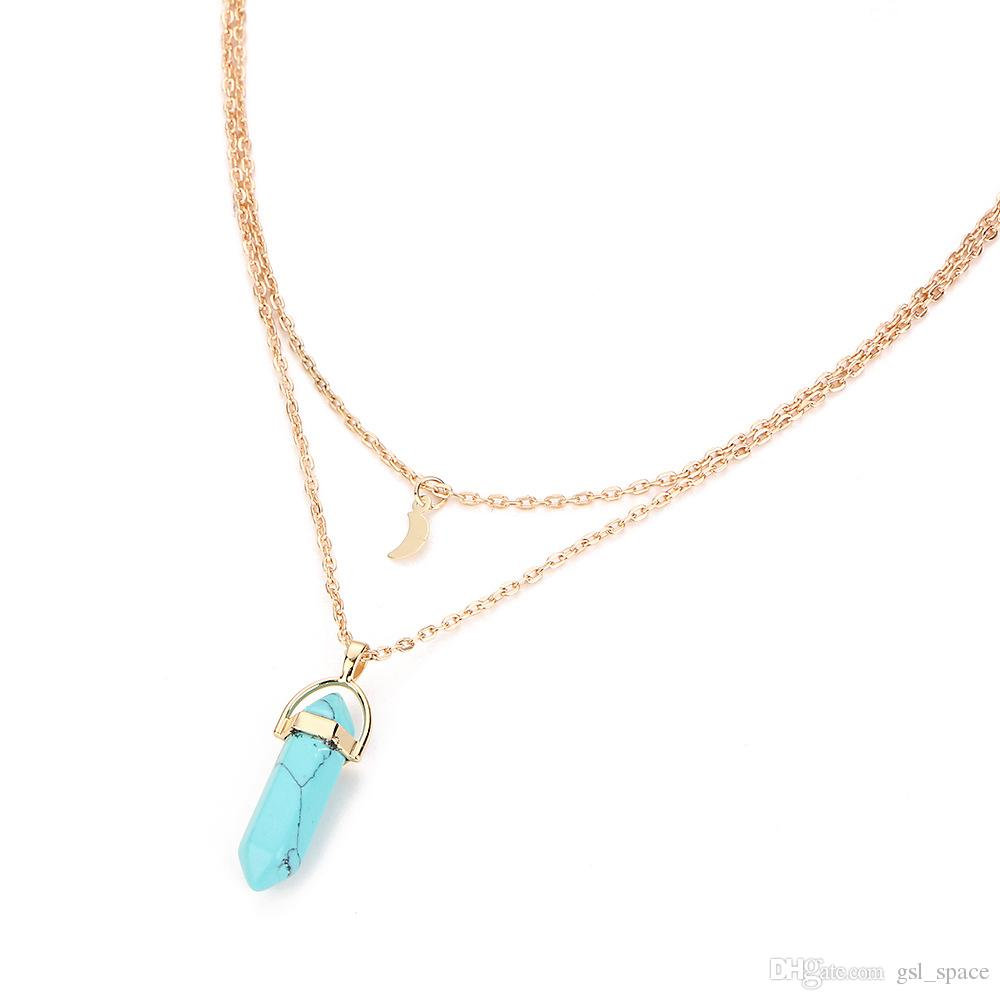 7 styles Natural Stone Pendant Double-deck moon Drusy Necklace Stainless Steel chain Bullet Hexagonal Jewelry for women men