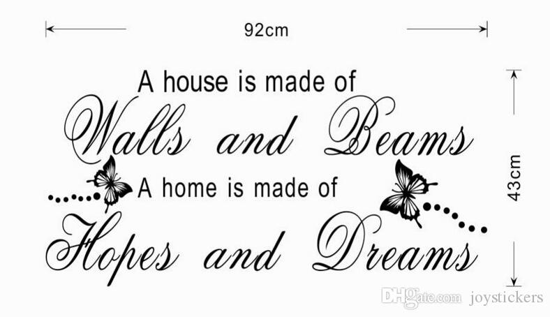 hopes and dreams family quote wall stickers home decorations diy removable vinly wall decals living room wall decals