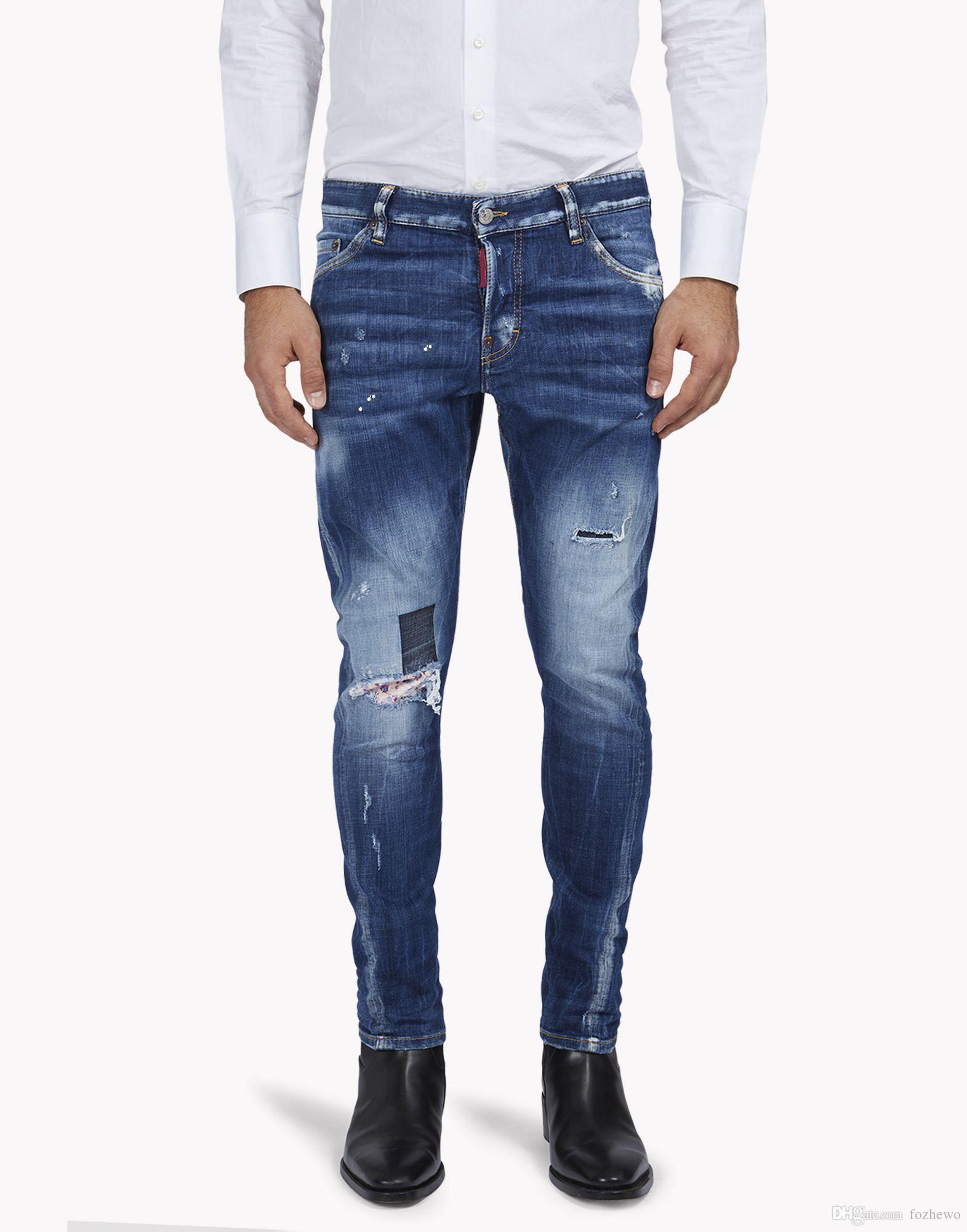 ead1f6b5a Pantalones de mezclilla de marca de lujo de los hombres de la marca de ropa  slim fit pantalones de mezclilla de moda pantalones de lápiz de calidad ...