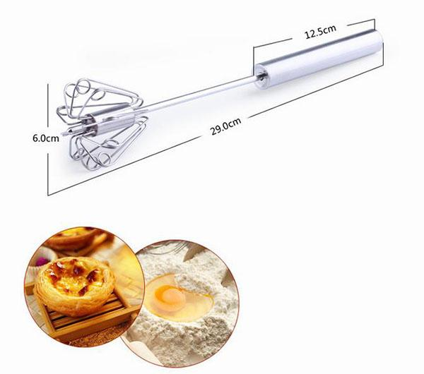 semi-automatic egg beaters mixer stainless steel egg whisker frother kitchen cream blender hand held press rotate egg tools kitchen gadgets