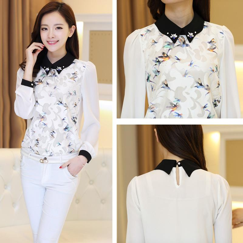 2018 Korean Style Spring 2015 New Arrival Ladies Office Shirt Long Sleeve Chiffon Blouses Women