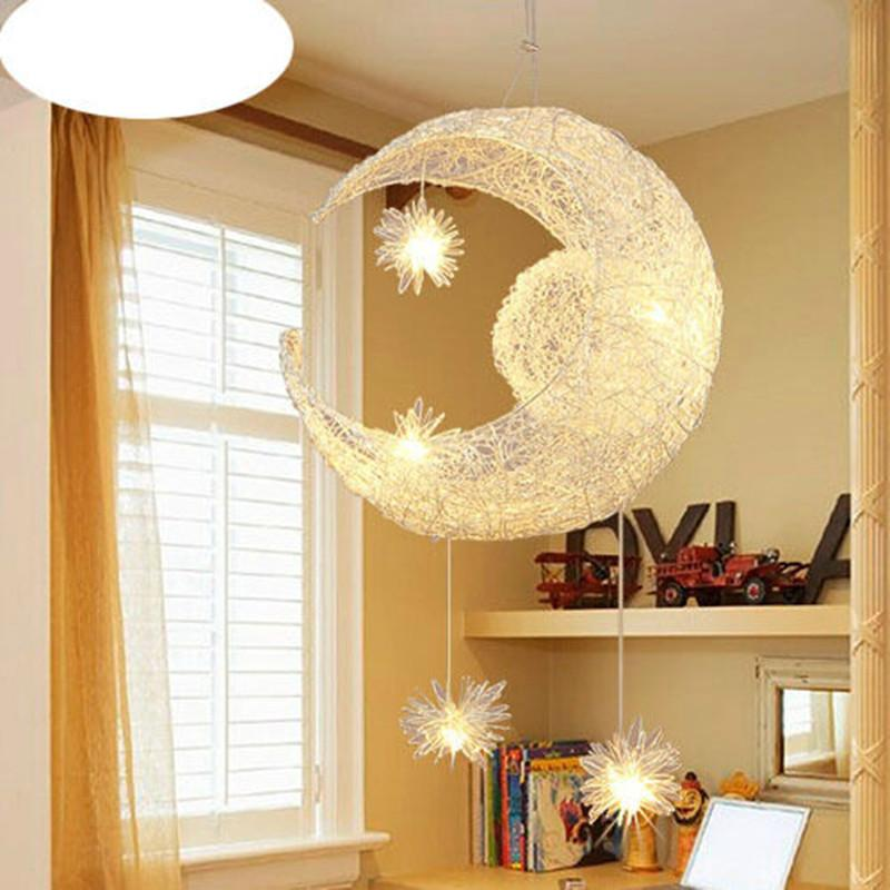 Creative Aluminum Pendant Light Moon Star Children Kid Child Bedroom ...