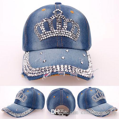07aa7d29928 Fashion Designer Rhinestone Bling Crown Caps Adjustable Washed Denim  Baseball Caps Women Cowboy Hats Fancy Summer Headwear Ladies Sun Hat Hats  Online Cap ...