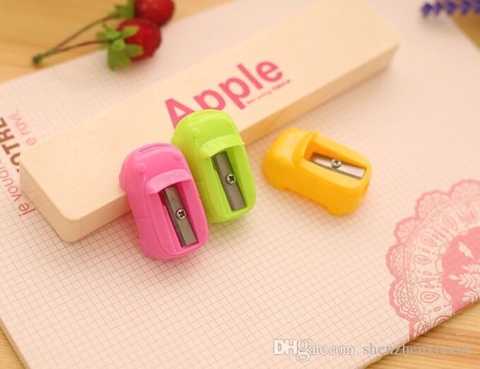 cute creative kawaii cartoons mini car shape plastic pencil cutter knife pencil sharpeners for children promotional gifts korean stationery