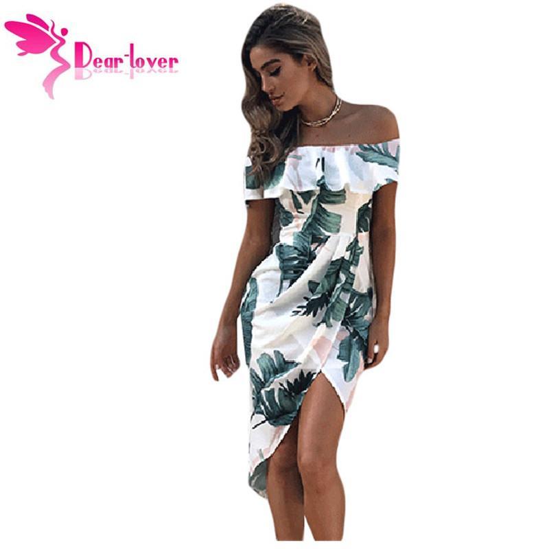 8bfb385c9243 Dear Lover Print Dresses 2017 Summer Tropical Palm Leaf Ruffle Off Shoulder  Wrap Boho Dress Mid-Calf Vestidos Estampado LC61572 Q1113 High Quality  Vestido ...