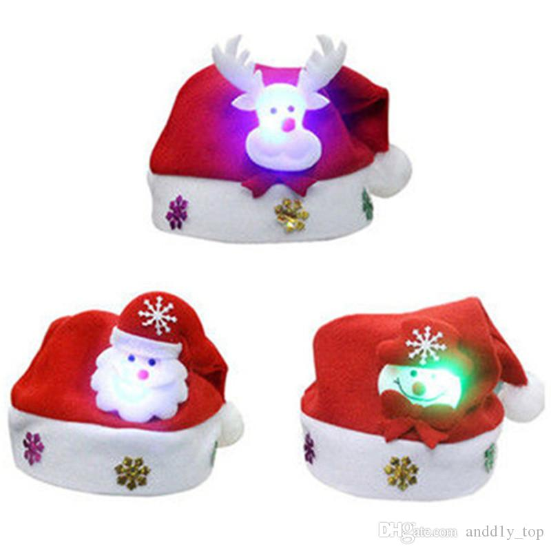 Kids LED Christmas Hat Light UP Cartoon Snowman Elk Santa Red Hats XMAS Decorations For New Year Party Supplies Child