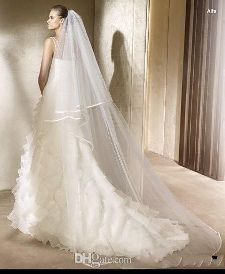 2T 3 Meters Ivory White Wedding Veil Short Bridal Veils SATIN Edge Bridal Head Pieces Cathedral Bridal