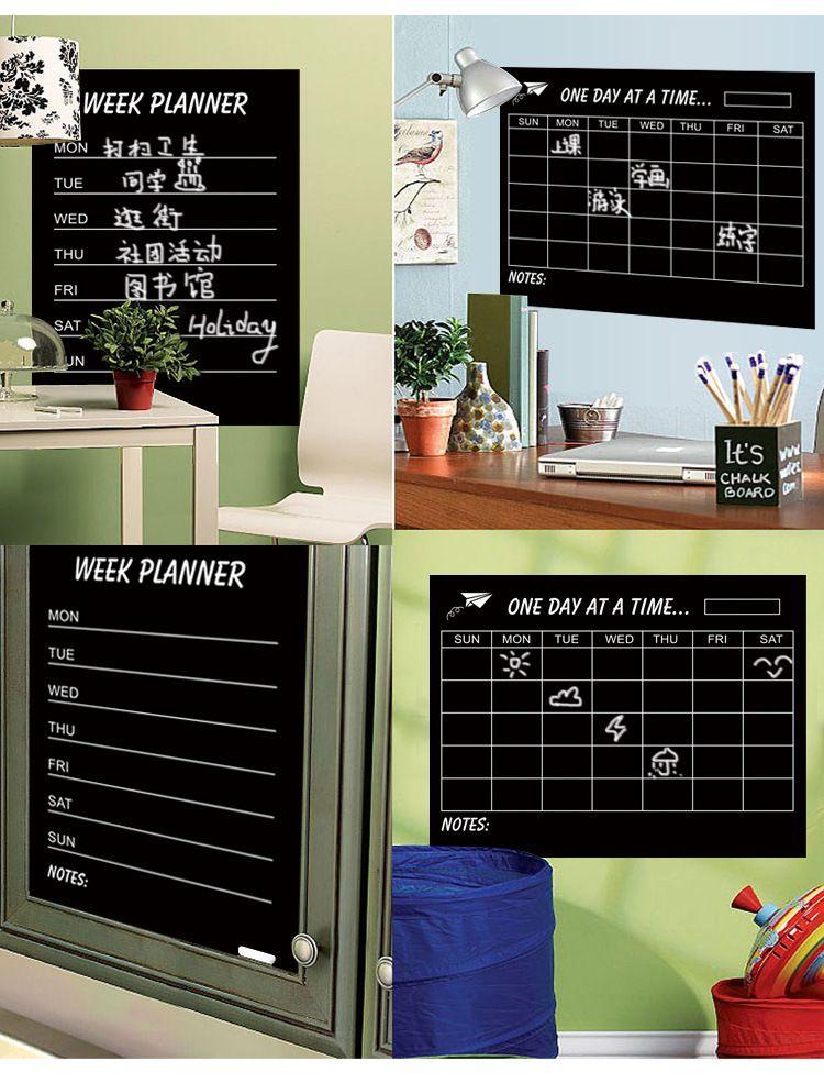 Calendrier hebdomadaire Blackbord Plan mensuel Black Chalkboards Amovible Wall Sticker Decal Chalk Boards Deco Planificateur de semaine