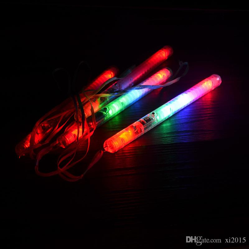 500 unids / lote Multi 7Modes Intermitente LED Luz de Noche Lámpara Colorida Varita Resplandor Palos + correa Festival Camp Party Envío Gratis
