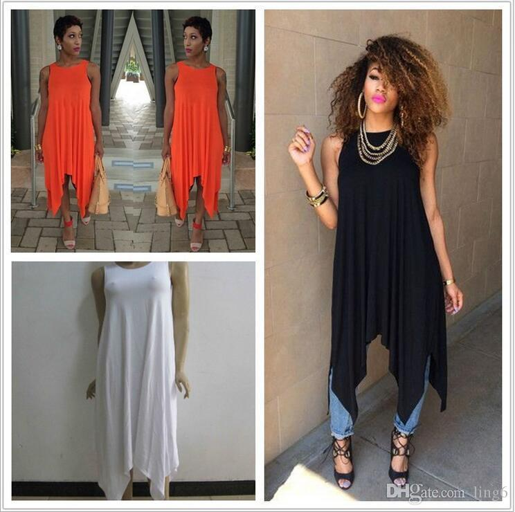 New Sexy Summer Dress Plus Size Black Causual Tank Dress Orange