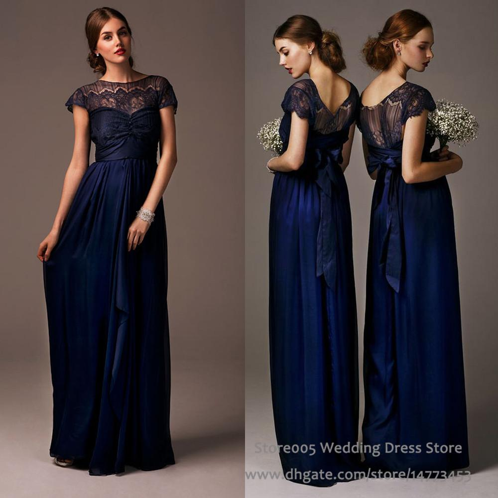 2016 Lace Chiffon Navy Blue Bridesmaid Dresses For Maid Of Honor Cap Sleeve  Long Wedding Guest Dress B2212 Green Bridesmaid Dresses Long Gowns From  Store005 ... - 2016 Lace Chiffon Navy Blue Bridesmaid Dresses For Maid Of Honor