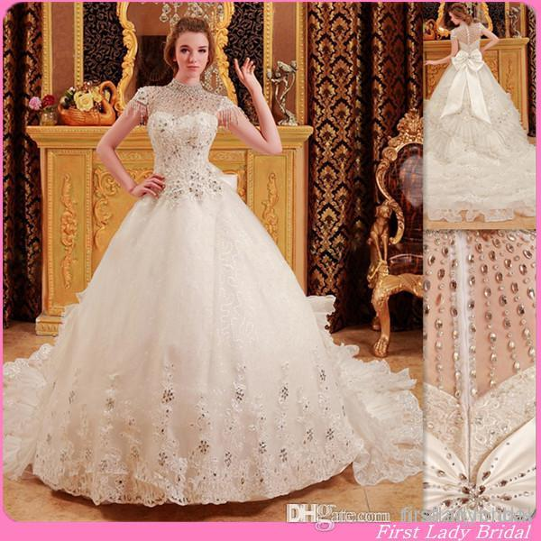 Wedding Gown Canada: 2015 Luxury Sheer High Neck Wedding Dresses Cap Sleeves