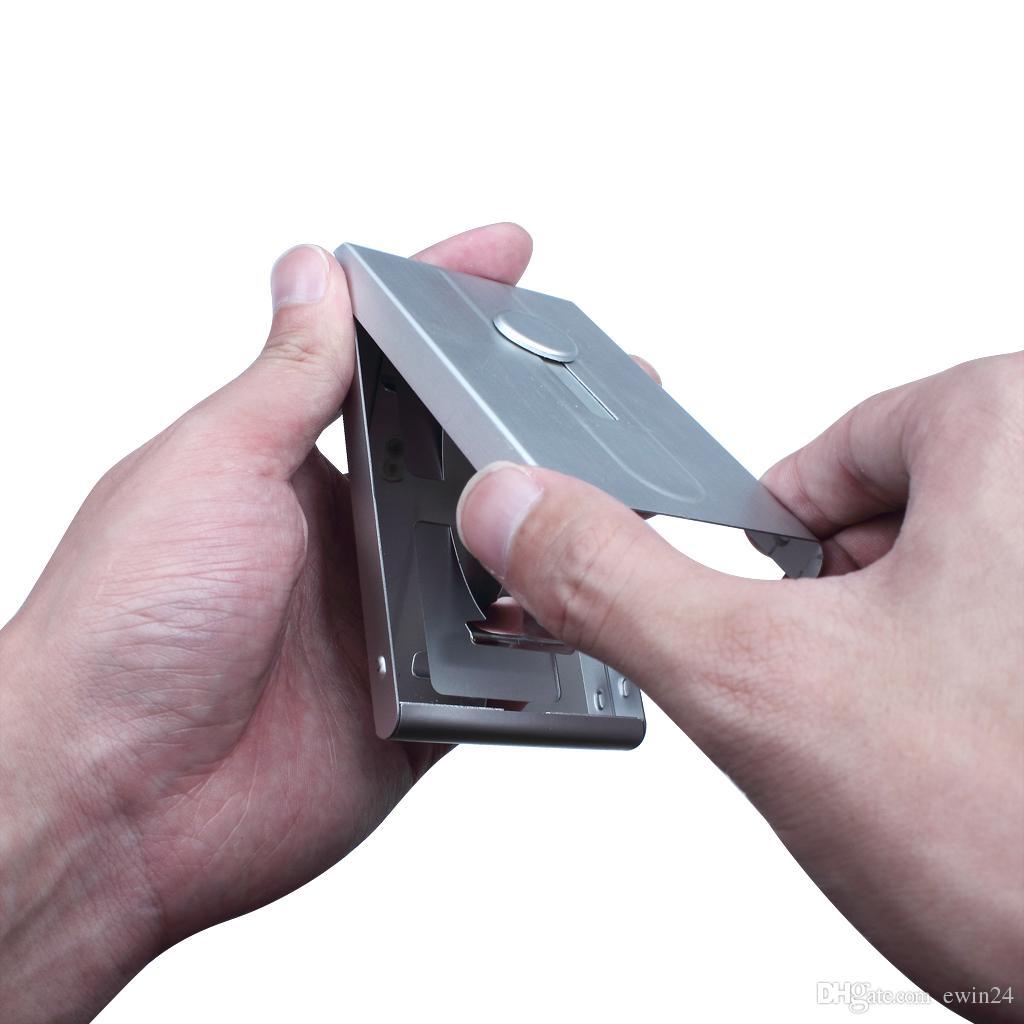 Мужчины из нержавеющей алюминия автоматический слайд бизнес ID имя карты держатель чехол Оптовая Бесплатная доставка горячей продажи