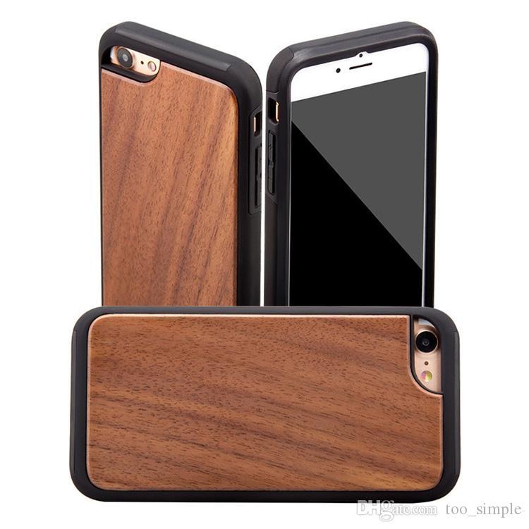 Pour iPhone 7 8 cas en bois véritable mode écran souple TPU en bois Protection anti-chocs étuis pour iPhone 6 6s Plus avec DHL