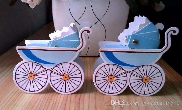 100 adet Bebek Arabası Düğün Parti Bebek Duş Iyilik Hediye Şerit Şeker Kutusu Kutuları