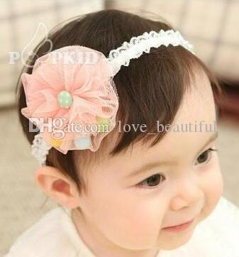 Pretty baby Hair Accessories For Infant Baby Gauze Pearl Big Flower Princess Babies Girl Hair Band Headband Baby's Head Band Kids