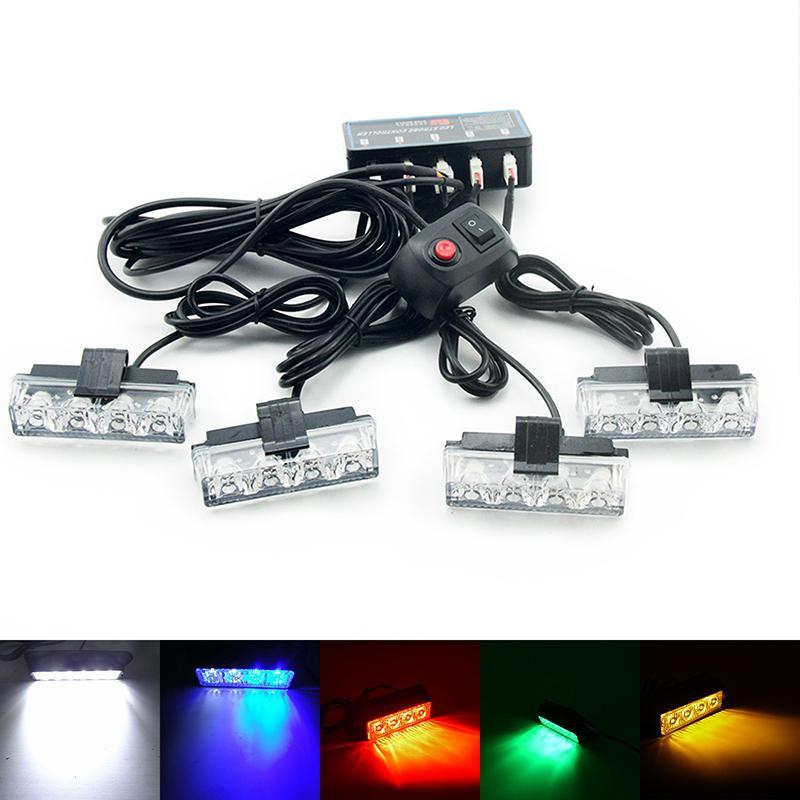 4pcs LED Grille Strobe Light Automotive Flashing Warning Lights Flashing  Emergency Front Grille Deck Dash Flash lamp 12V