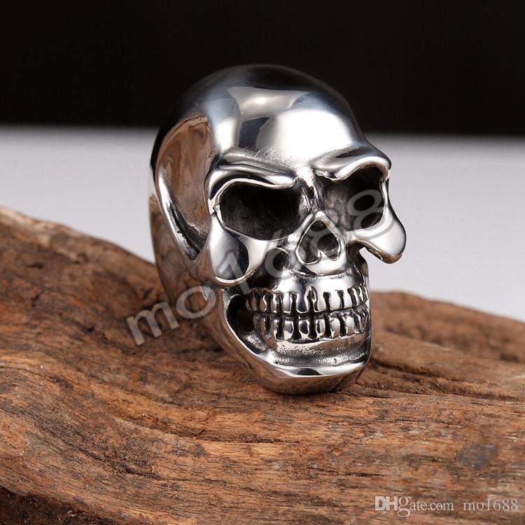 316L Plata Acero Inoxidable Pesado Negro Grande Cráneo Cabeza Hombres Biker Anillo Tamaño 7-13