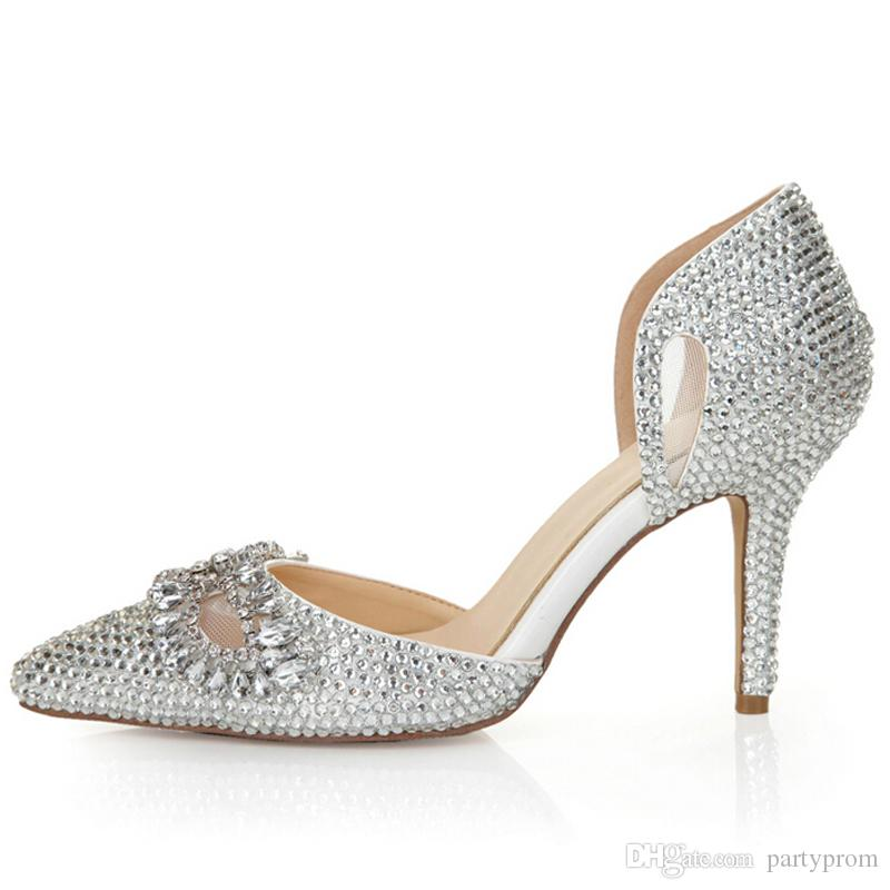 low heel wedding shoes with rhinestones silver rhinestone heels pointed toe bling cinderella shoes 5618