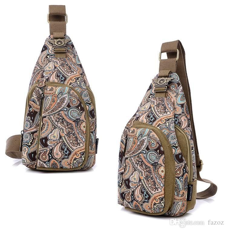 Personalised Unisex Retro Printed Canvas Unbalanced Sling Pack Small Chest Bag Ladies Fashion Single Shoulder Backpack Crossbody Male Bag