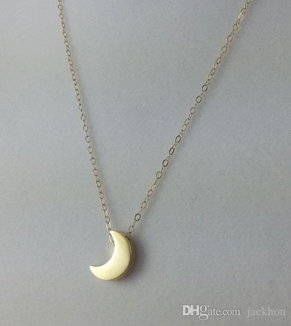 Wholesale n129 gold silver cute small half moon necklace for Cute jewelry for girlfriend