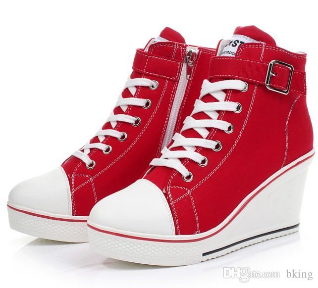 c8d881815 Compre Mulheres Meninas High Top Lona Cunha Salto Lace Up Sapatilhas De Plataforma  Sapatos De Fivela De Bking