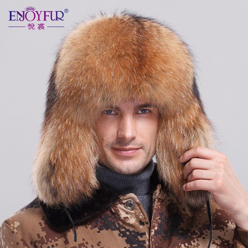 2018 Winter Full Fur Bomber Hat For Men Natural Raccoon ...