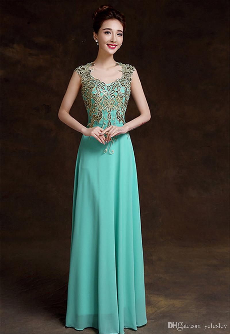 Formal Evening Prom Dresses Lace Embroidery Beads Bridal Party Evening Wear Gold Shiny Embroidery Crystal Sheer Back Prom Dresses