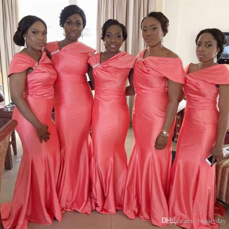 African 2019 Coral Taffeta Mermaid Bridesmaid Dresses Long Irregular Neck Short Sleeve Plus Size Maid Of Honor Wedding Guest Dress Cheap
