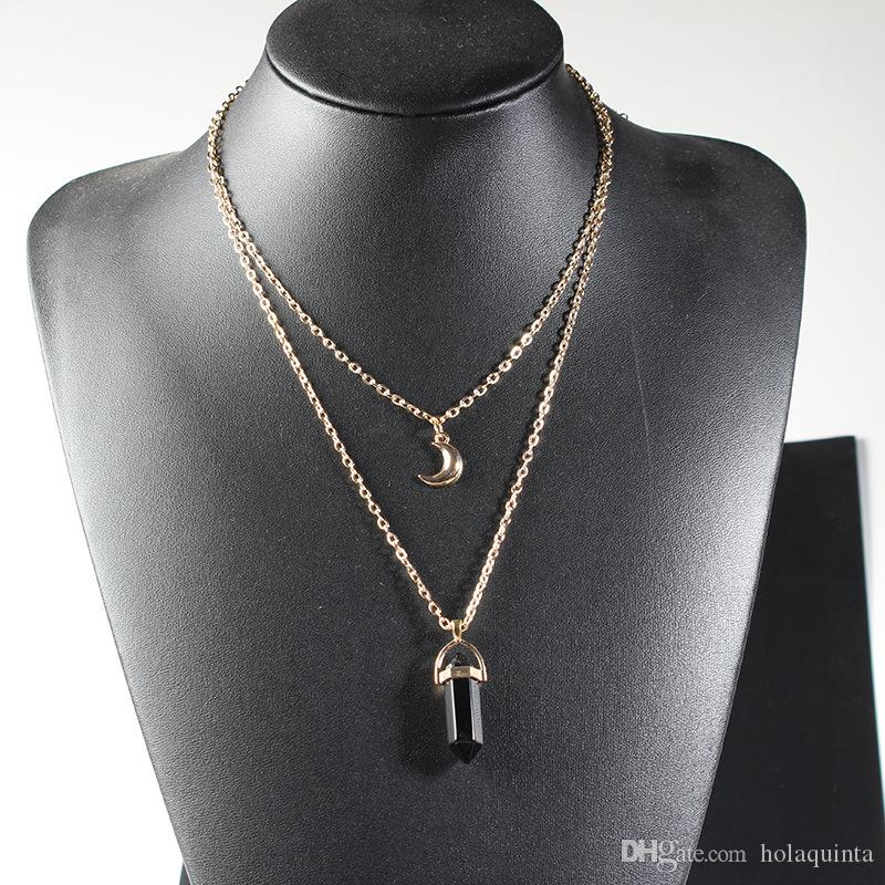 Lua de pedra natural gargantilha colar de moda cor de ouro colar de pingente de cristal para as mulheres