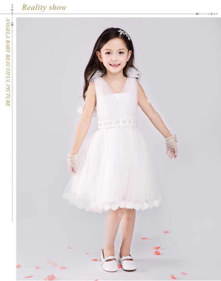 2016 vestidos de boda del cordón completo Party formal niña de las flores Kid Dress Babyid Dama de honor vestidos blancos Sweetheart Girl Dresses
