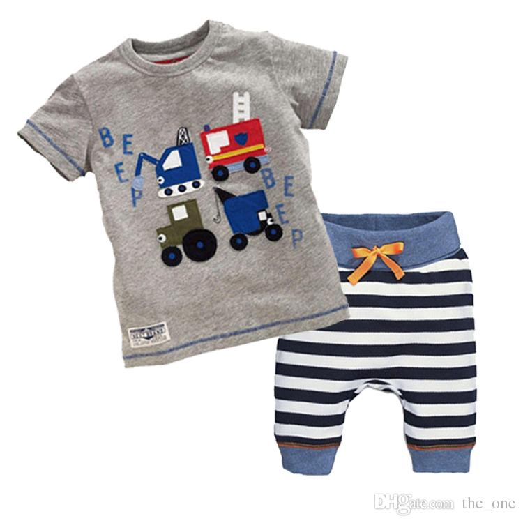 acef8d1dfa1b Samgami Baby wholesale short sleeve Cotton baby boys Cartoon Cars t-shirt +  casual striped shorts outfits for Children