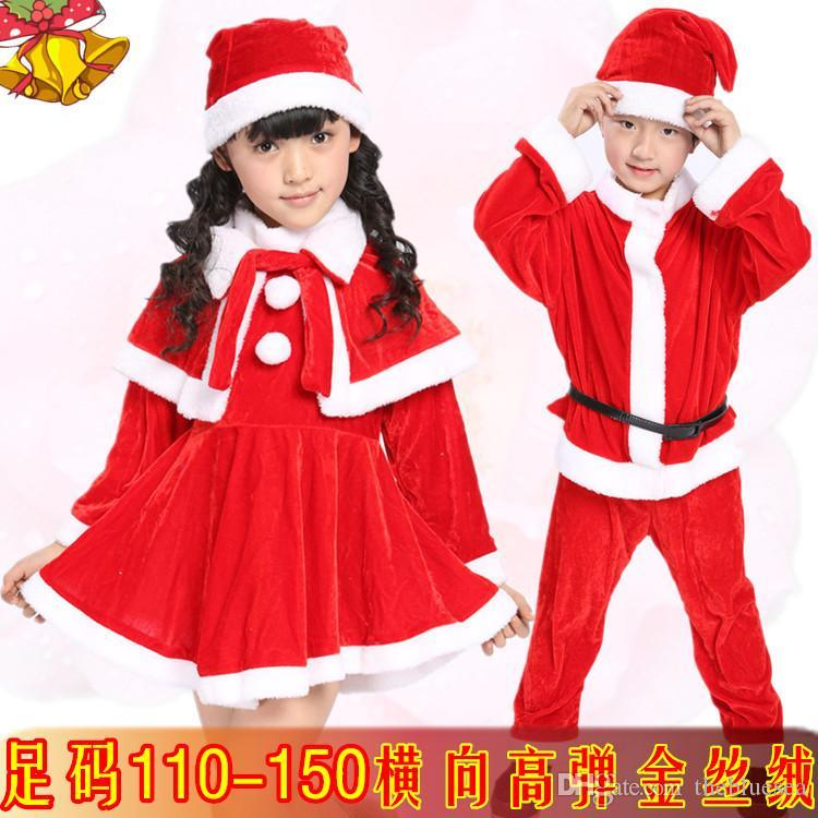 best childrens christmas santa claus cosplay boy girl baby kids plus size christmas hat dress halloween stage performance clothing cosplay under 1658 - Santa Claus Kids