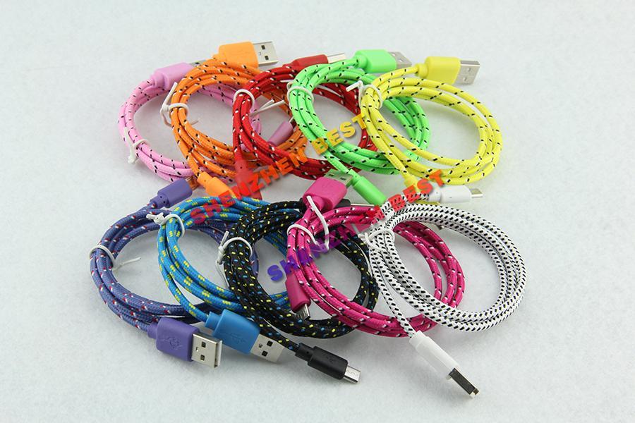 Kostenloser Versand !! Buntes neues 1M Gewebe-Nylon umsponnenes Mikro-USB-Kabel für Samsung für Blackberry für umsponnenes Kabel / des HTC-Stoffes