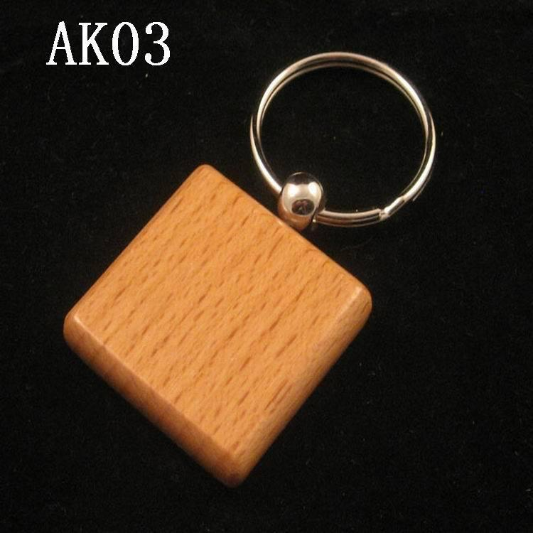 Hot sale Square Shaped Blank Wooden Key Chains Promotion Carving Key rings can be carving you LOGO