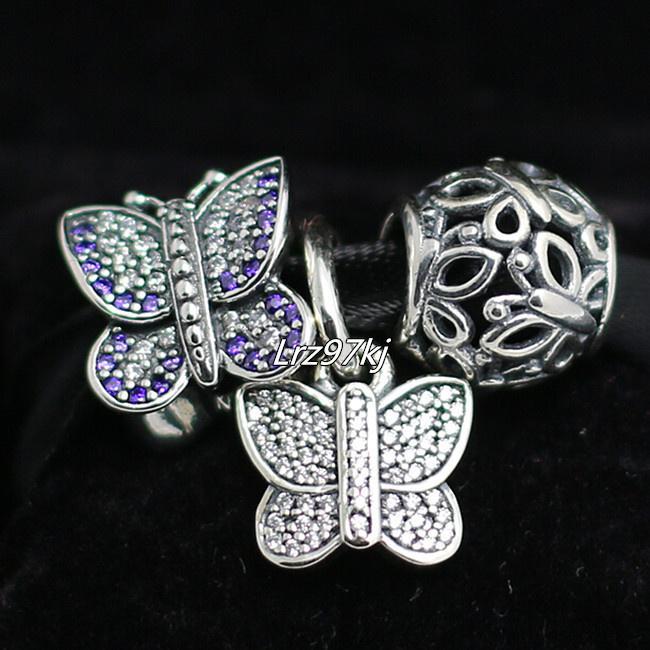 S925 Gümüş Takılar ve Murano Cam Boncuk Charm Kutusu ile Set Avrupa Pandora Takı Charm Bilezikler-Kelebek Uyar