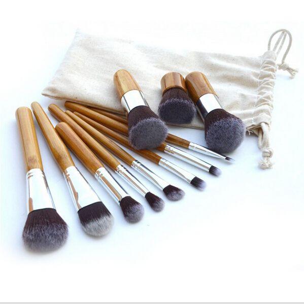 Los cepillos de bambú del maquillaje de la manija del cepillo / profesional, componen las herramientas de los kits del cepillo de los cosméticos del sistema de cepillo