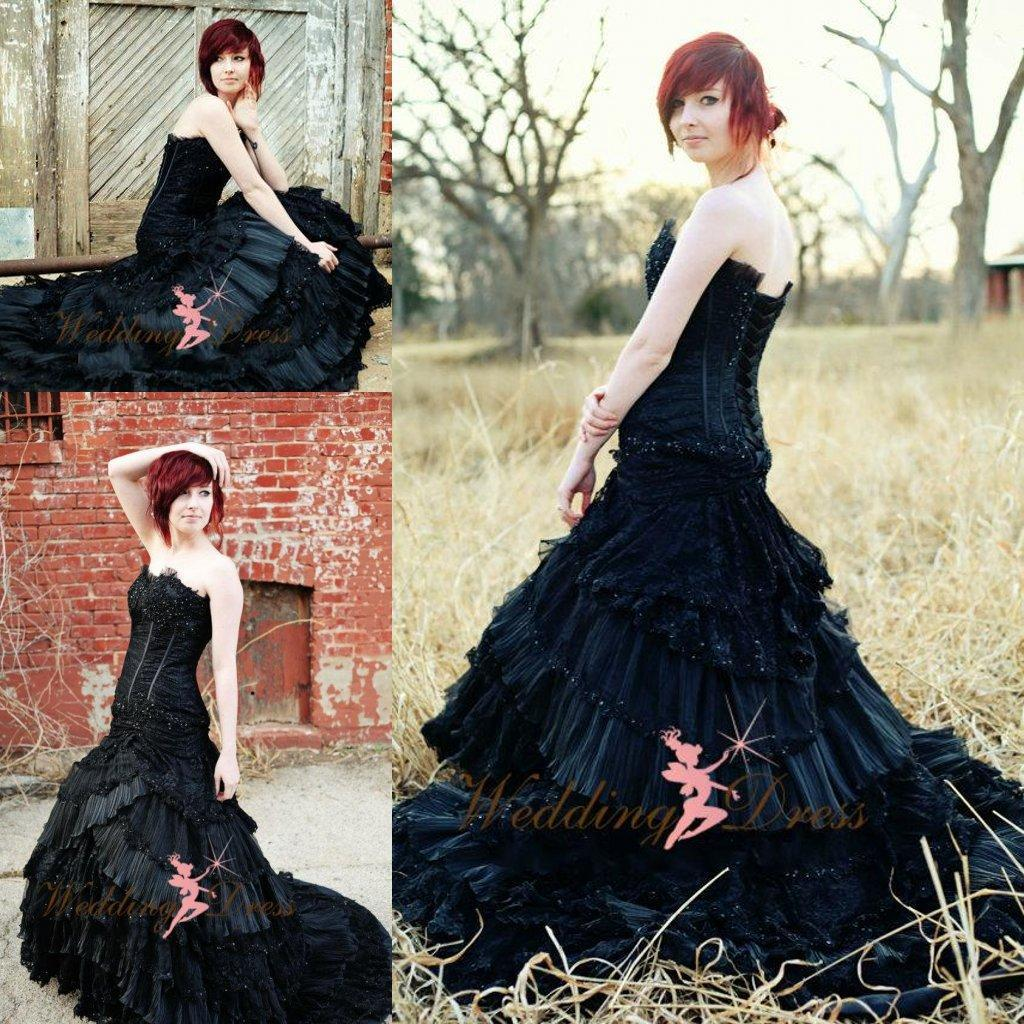 Gorgeous Corset Black Bridal Gown Gothic Halloween Wedding Dresses Cascading Ruffle Lace Appliqued Sequins Victorian Gowns Strapless: Gothic Halloween Wedding Dress At Websimilar.org