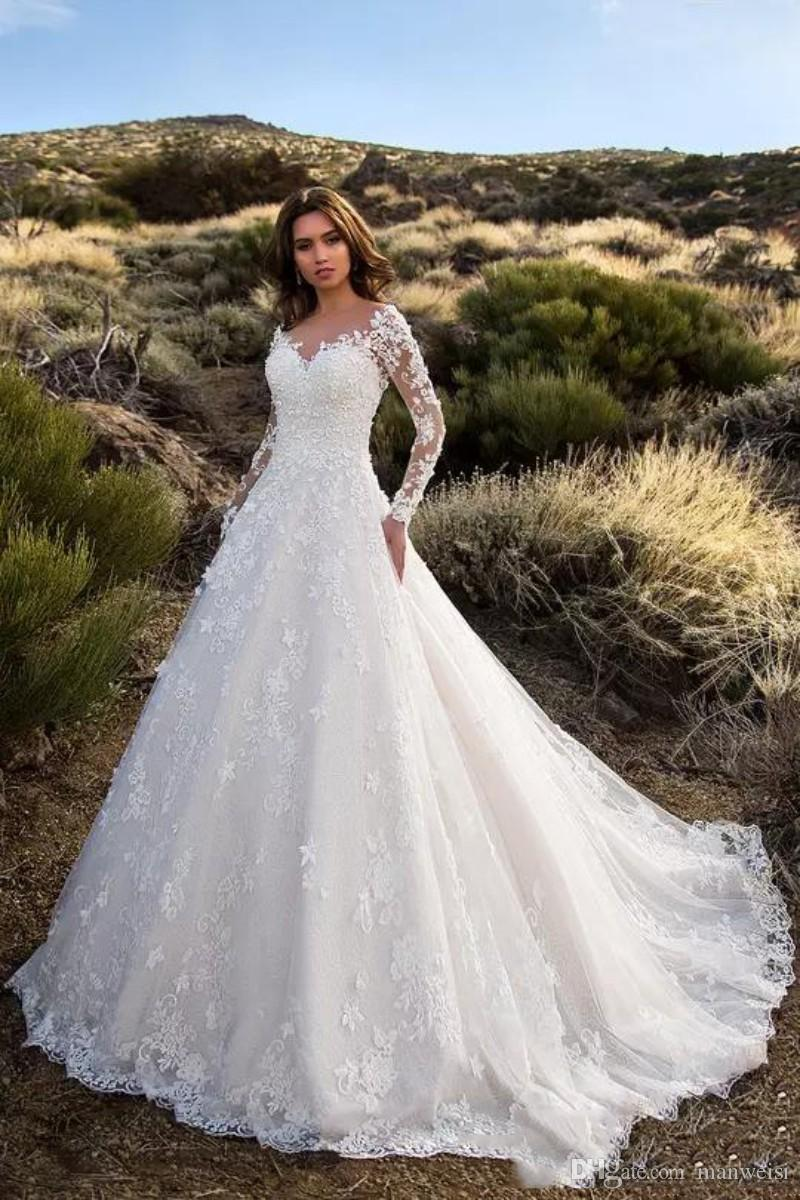 Modest Long Sleeve Wedding Dresses With Pockets Lace Appliqued Backless Bridal Gowns Sheer Jewel Neck Garden Country Wedding Dress