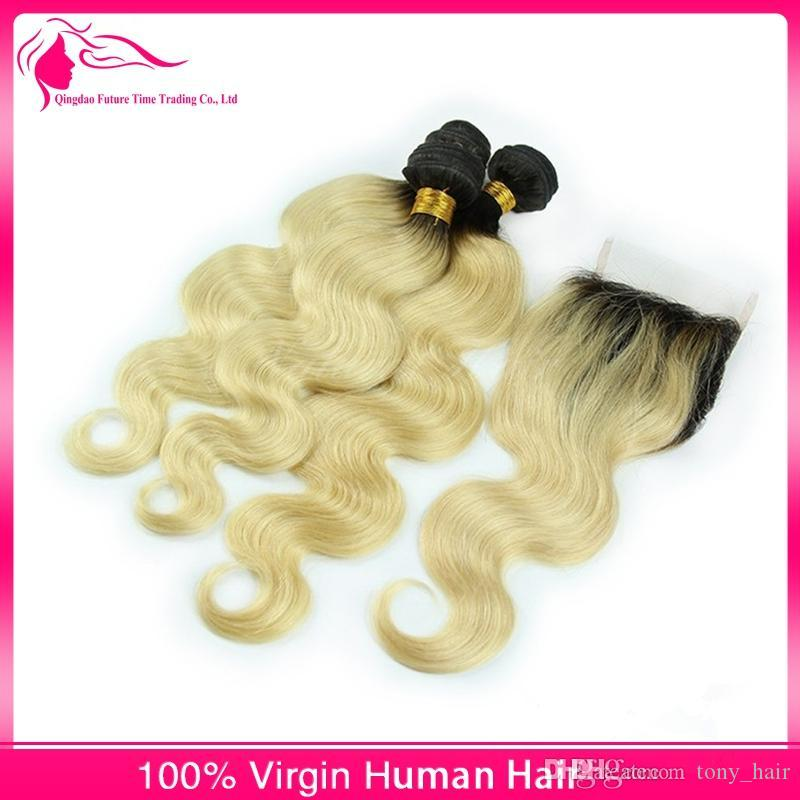8A Malaysian Ombre Hair With Closure #1B 613 Blonde Dark Roots Ombre Body Wave Wavy Weave Bundles With Two Tone Colored Lace Closure