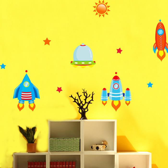 Cartoon Rocket Moon Star Sun Universe Wall Art Decal Sticker Kids Children Room Decoration Wallpaper Decor Art Mural Poster Sticker