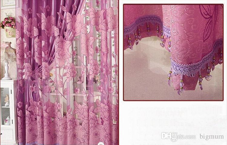 새로운 도착 커튼 럭셔리 거실을위한 골동품 Tulle + Blackout Curtain Window 트리트먼트 / 드레이프 브라운 / 레드