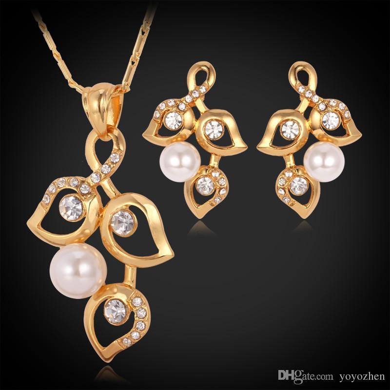 18K Real Gold Chapado Hermosa Joyería Juego Nuevo diseño Árbol Hoja Collar Pendientes Rhinestone Mujeres [Fábrica al por mayor Y3074