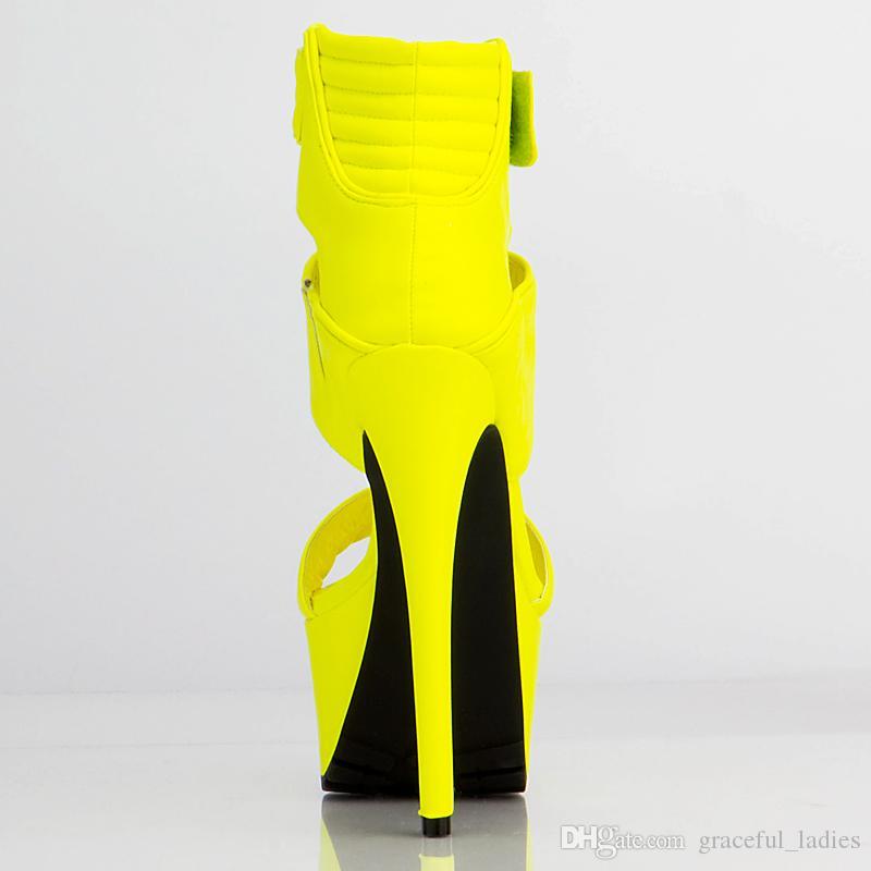 Sandali gialli Delle donne Tacchi alti Tacchi in pelle scamosciata Piattaforma di pelle scamosciata Scarpe da donna Pompe Nuove Design Design Ragazze Scarpe Bind Belt Belts Fibbie Stiletto Stiletto
