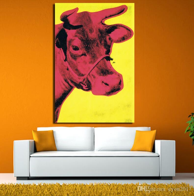 2017 Andy Warhol Cow 1966 Yellow and Pink pop art print Wall Painting picture Home abstract Decorative Art Picture Prints