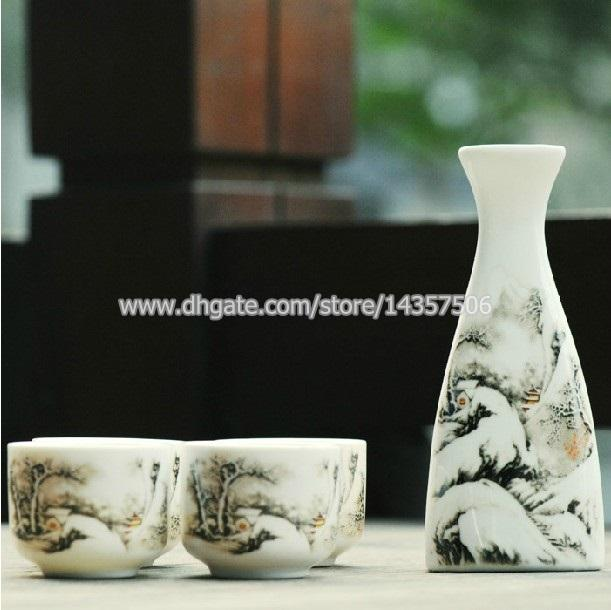 Elegant Japanese Sake Set Porcelain Wine Bottle \u0026 Cup Gift Traditional Chinese Landscape Painting Winter Mountain And Pine Trees Glass Dinnerware Glass ... & Elegant Japanese Sake Set Porcelain Wine Bottle \u0026 Cup Gift ...