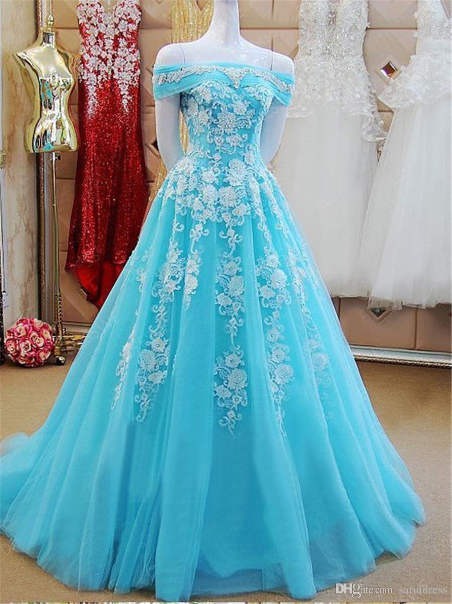 Off the Shoulder Bateau Neck Mint Green Tulle A-line Applique Prom Dress Reals Evening Gowns black girl prom Gowns
