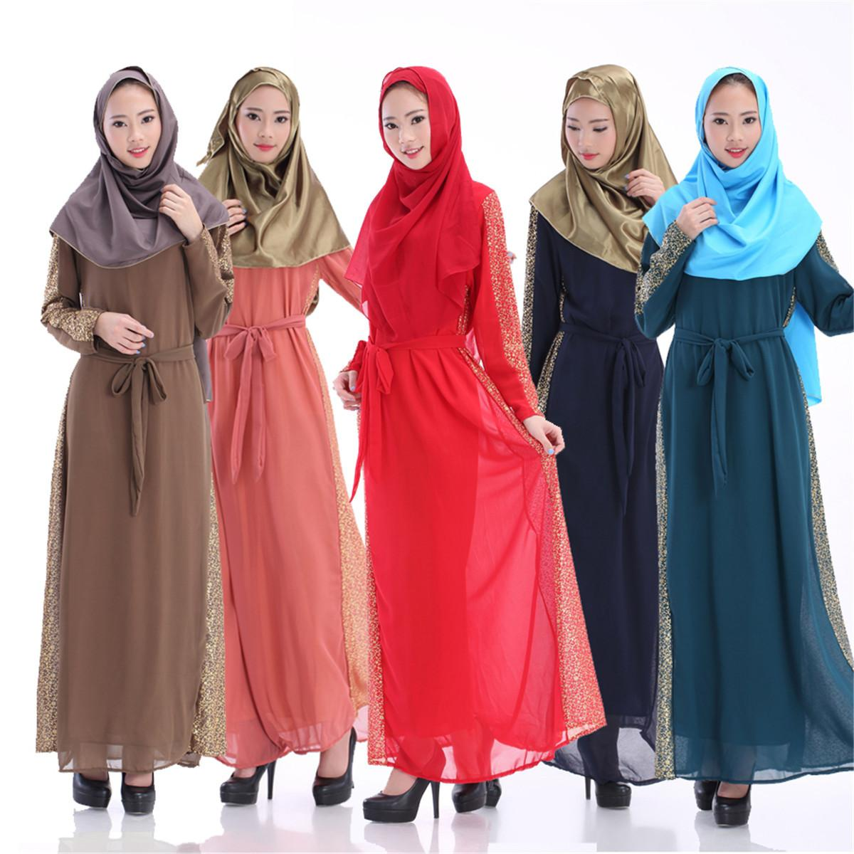 17fcdd364e2 2016 Fashion Muslim Dridesmaid Dresses Sequins Arab Women Robes Long  Sleeves Islamic Ethnic Clothing Middle East Casual Dress E302J Pink  Cocktail Dresses ...