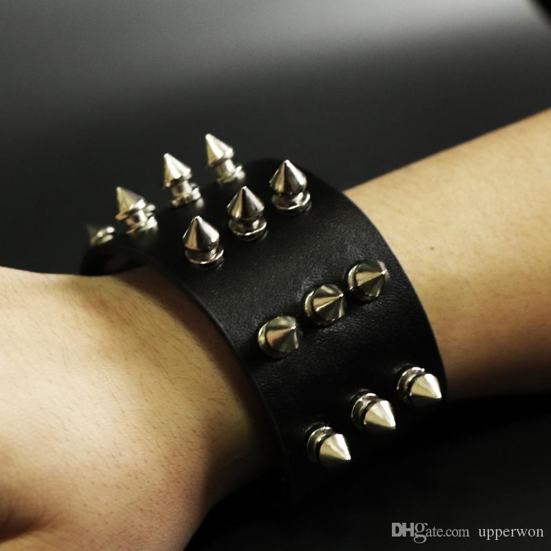 Punk Gothic Rock Three Row Metal Cone Stud Spike Rivet Leather Wristband Wide Cuff Bracelet Punk Leather Cuff Bagle Cool